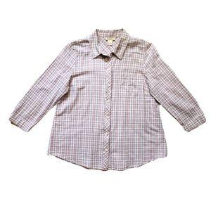 Lavender Purple Plaid Button up Flannel sz M